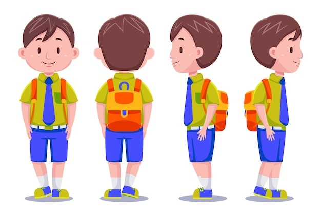 Cute kids boy student character in different poses carrying backpack.