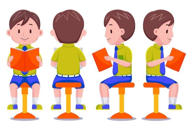 Симпатичные дети мальчик студент персонаж читая книгу сидя.