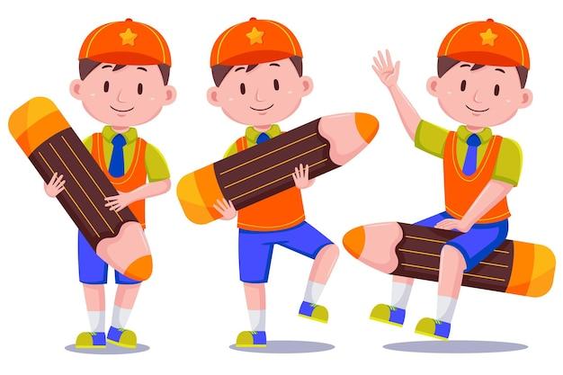 귀여운 아이 소년 학생 캐릭터 모자를 쓰고.