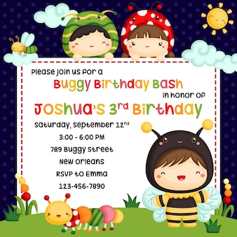 Cute kids in bugs costume invitation