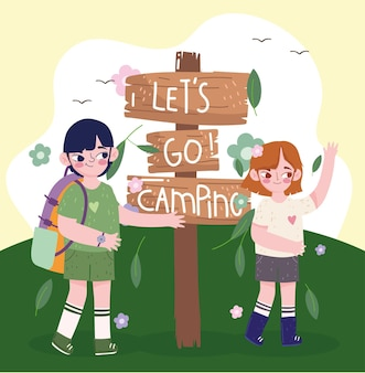 귀여운 아이 캠핑 푯 말
