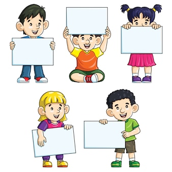Cute kids cartoon holding blank paper