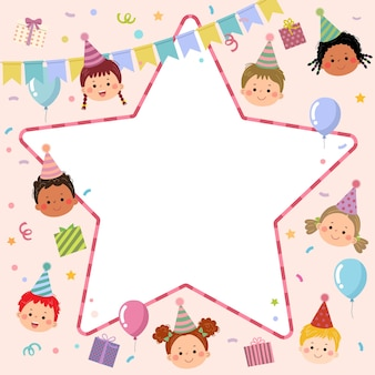 초대 또는 생일 파티 카드 템플릿을 위한 별 모양의 테두리가 있는 귀여운 어린이 만화.