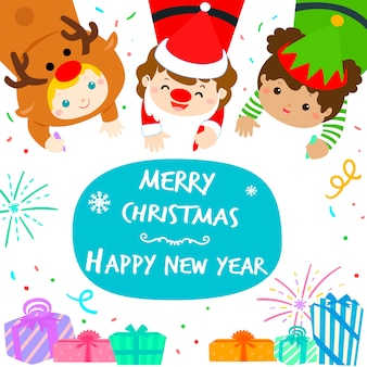 Cute kids in christmas background vector illustration.