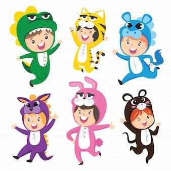 Cute kids in costumes set