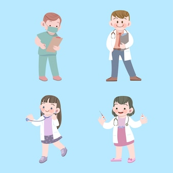 Cute kids doctor and nurse job collection with stethoscope