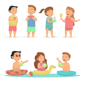 Cute kids drink and eat at beach concept illustration