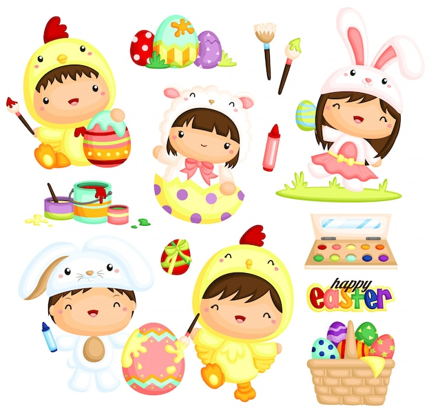 Cute kids in easter costume painting eggs