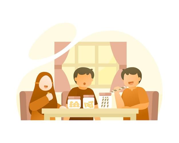 Милые дети едят традиционные закуски на ид аль-фитр