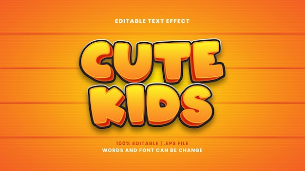 Cute kids editable text effect in modern 3d style