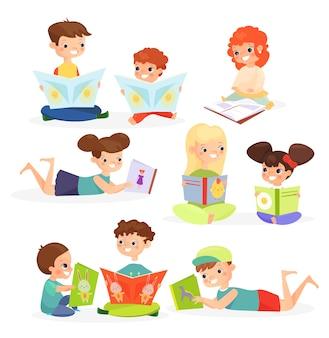 유치한 이야기를 즐기는 귀여운 아이 만화 캐릭터 교과서가있는 쾌활한 아이들이 사진을보고