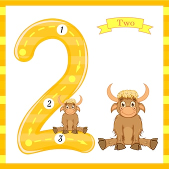 Cute kids flash number two trace with 2 bulls for kids learning to count and write.