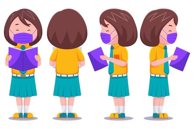 귀여운 아이 여자 학생 문자 읽기 책 입고 마스크.