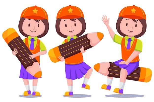 帽子をかぶってかわいい子供女の子学生キャラクター。