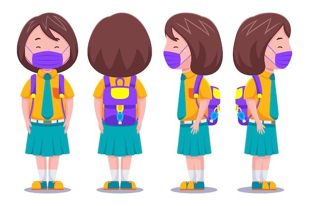 마스크를 쓰고 귀여운 아이 여자 학생 캐릭터.