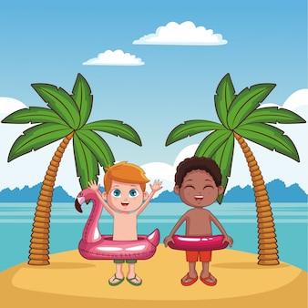 Симпатичные дети, с удовольствием на пляже мультфильмы векторные иллюстрации графический дизайн
