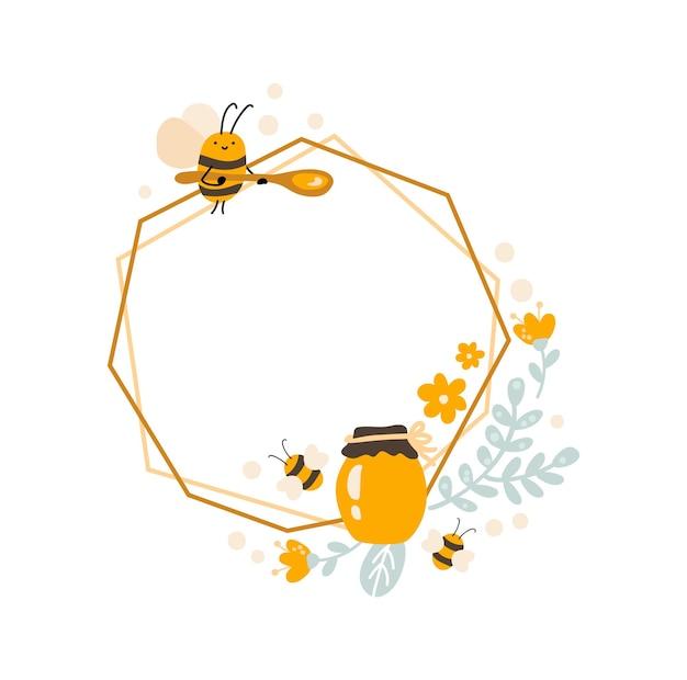 꿀벌과 숟가락이 있는 귀여운 육각형 프레임, 꽃 화환이 있는 꿀 항아리. 베이비 스칸디나비아 스타일