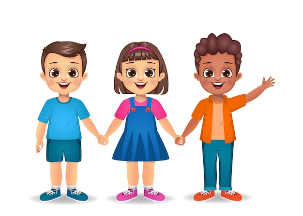 Cute kids holding hands together