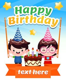Cute kids holding happy birthday text