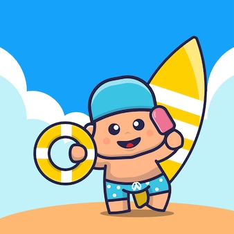 Cute kids holding ice cream swim ring and surfboard cartoon illustration