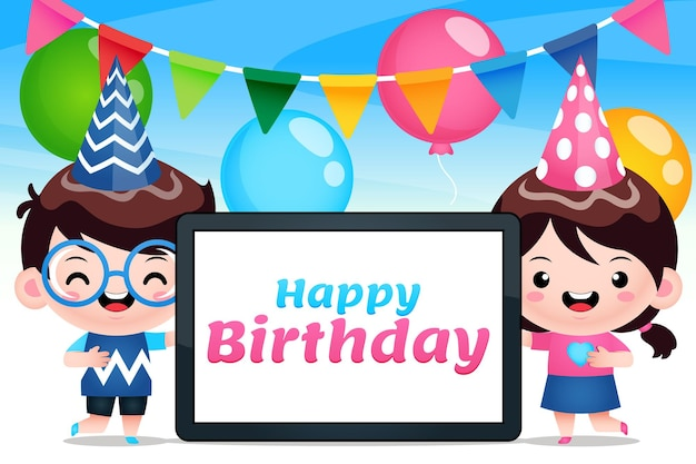 電話タブレットお誕生日おめでとうを保持しているかわいい子供たち