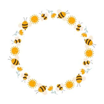 フラットフレームベクトルスカンジナビアスタイルの太陽、花、蜂とかわいい子供たちの蜂蜜の花輪。