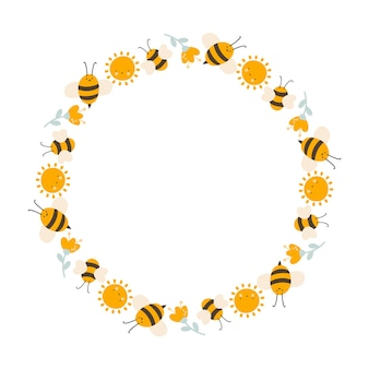 Cute kids honey wreath with sun, flower and bee in flat frame vector scandinavian style.