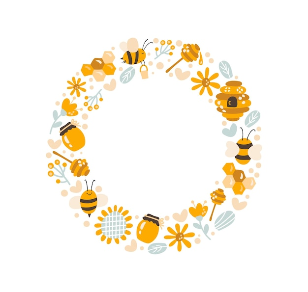 Cute kids honey wreath with sunflower, honey spoon and bee in flat frame vector scandinavian style