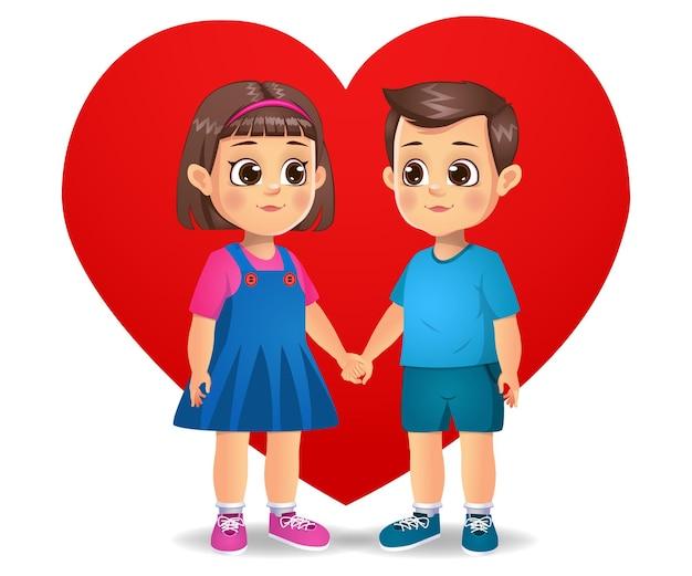 Милые влюбленные дети видят друг друга