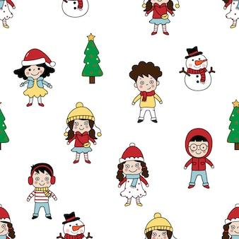 かわいい子供たちの冬の衣装シームレスなパターン