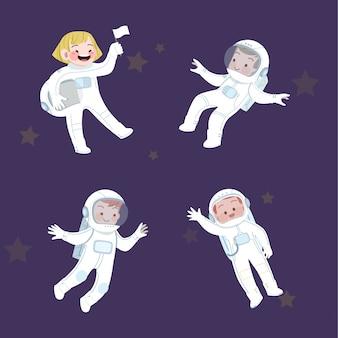 귀여운 아이 직업 우주 비행사 및 취미 컬렉션