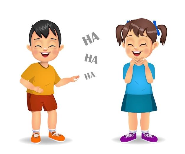 Симпатичные дети смеются вместе