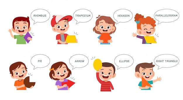 Cute kids learn basic shape in