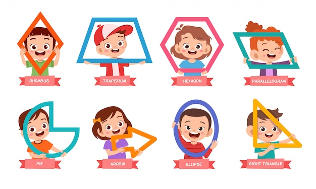Cute kids learn basic shape