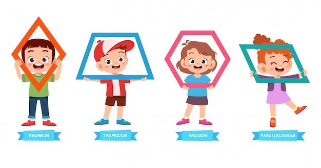 Cute kids learn basic shape