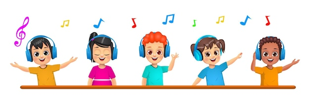 Cute kids listening to music together