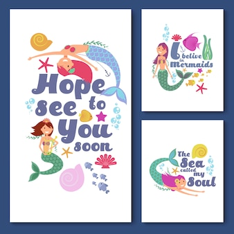 Cute kids nautical vector cards. marine childrens invitations with funny mermaid girls
