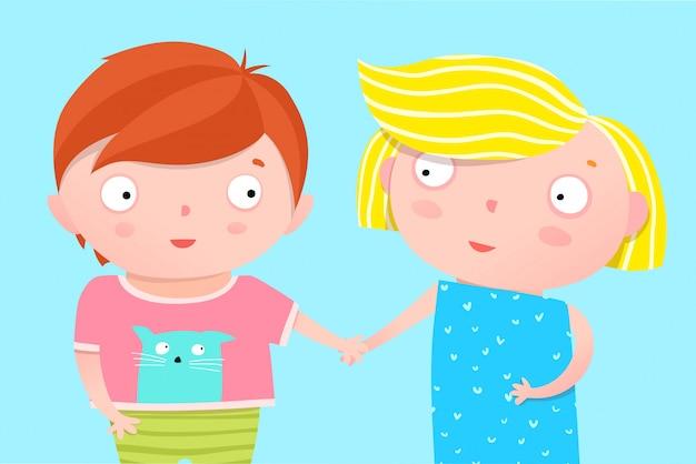 かわいい子供たちの保育園のポスターデザインの兄と妹が手を繋いでいます。