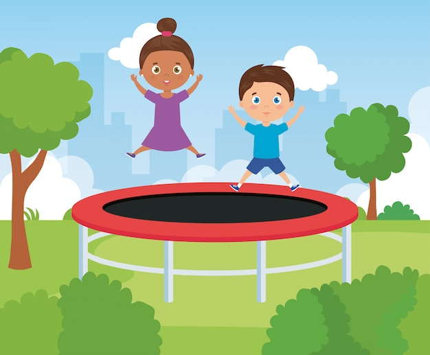 Cute kids in park playing in trampoline illustration