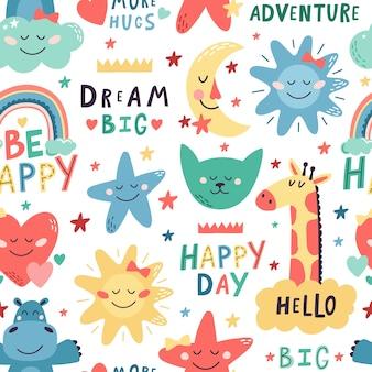 Cute kids pattern childish design with cat and hippopotamus