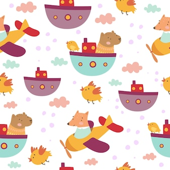 Cute kids pattern with animals