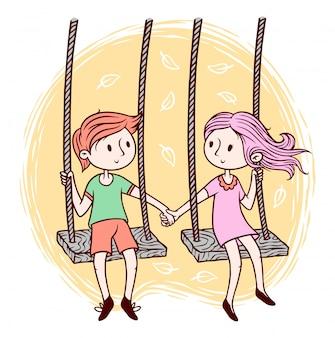 Милые дети играют качели иллюстрации