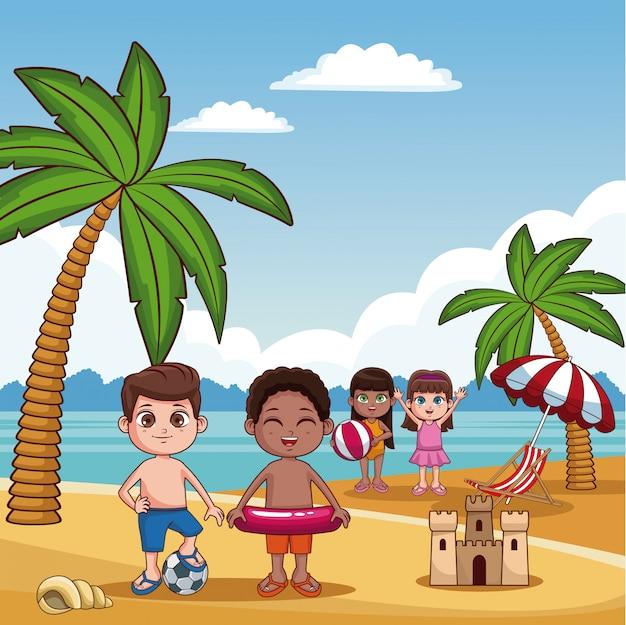 Cute kids playing beach summer cartoon