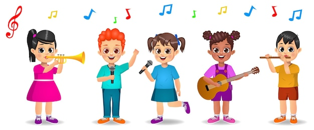 Cute kids playing music together isolated on white