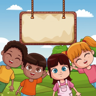 Cute kids playing at park cartoons with blank wooden board
