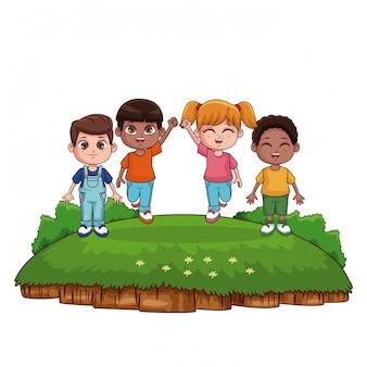Cute kids playing at park cartoons