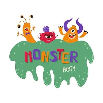 만화 스타일의 괴물과 함께 귀여운 아이 포스터. 재미있는 캐릭터가 있는 파티 초대장 템플릿입니다. 휴일, 생일 인사말 카드입니다. 벡터 일러스트 레이 션