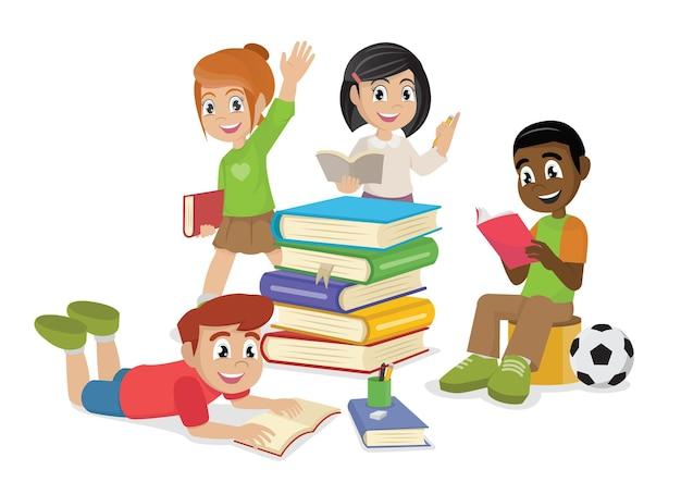 귀여운 아이 책을 읽고 책을 읽고 행복 한 아이 벡터 및 그림