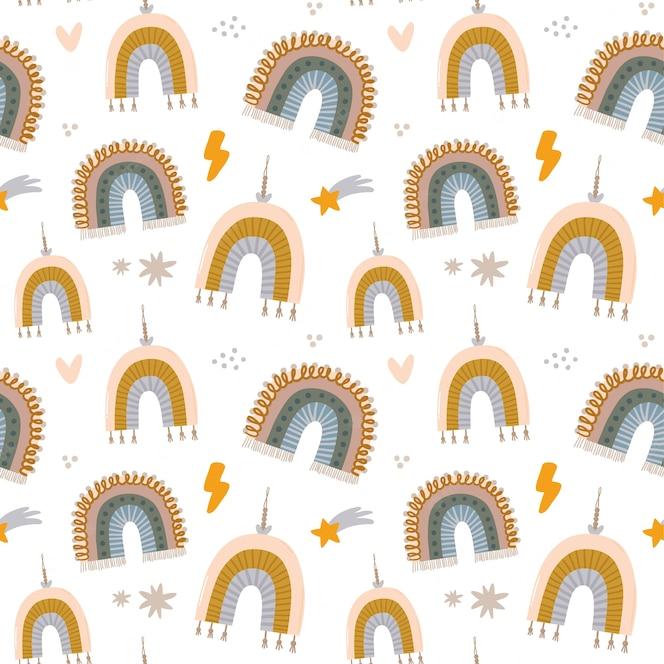 유행 따옴표와 멋진 동물 손으로 그린 요소와 귀여운 아이 스칸디나비아 문자 완벽 한 패턴입니다. 베이비 샤워, 보육실 장식, 어린이 디자인을위한 만화 낙서 그림. .
