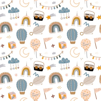 Cute kids scandinavian characters seamless pattern with trendy quotes and cool animal hand drawn elements.